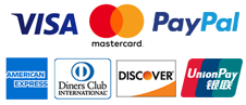 Visa, Master Card, American Express, Diners Club, DISCOVER, Union Pay, Pay Pal